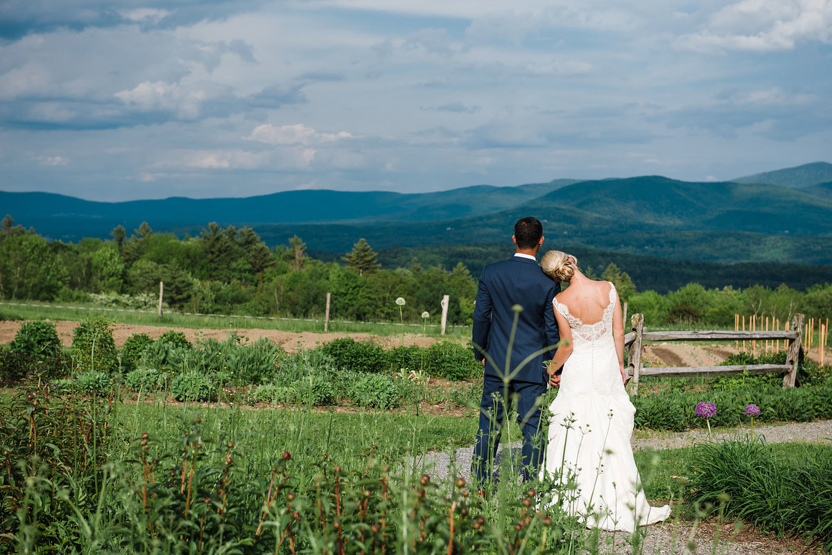 bride and groom in Vermont mountains, Stowe wedding