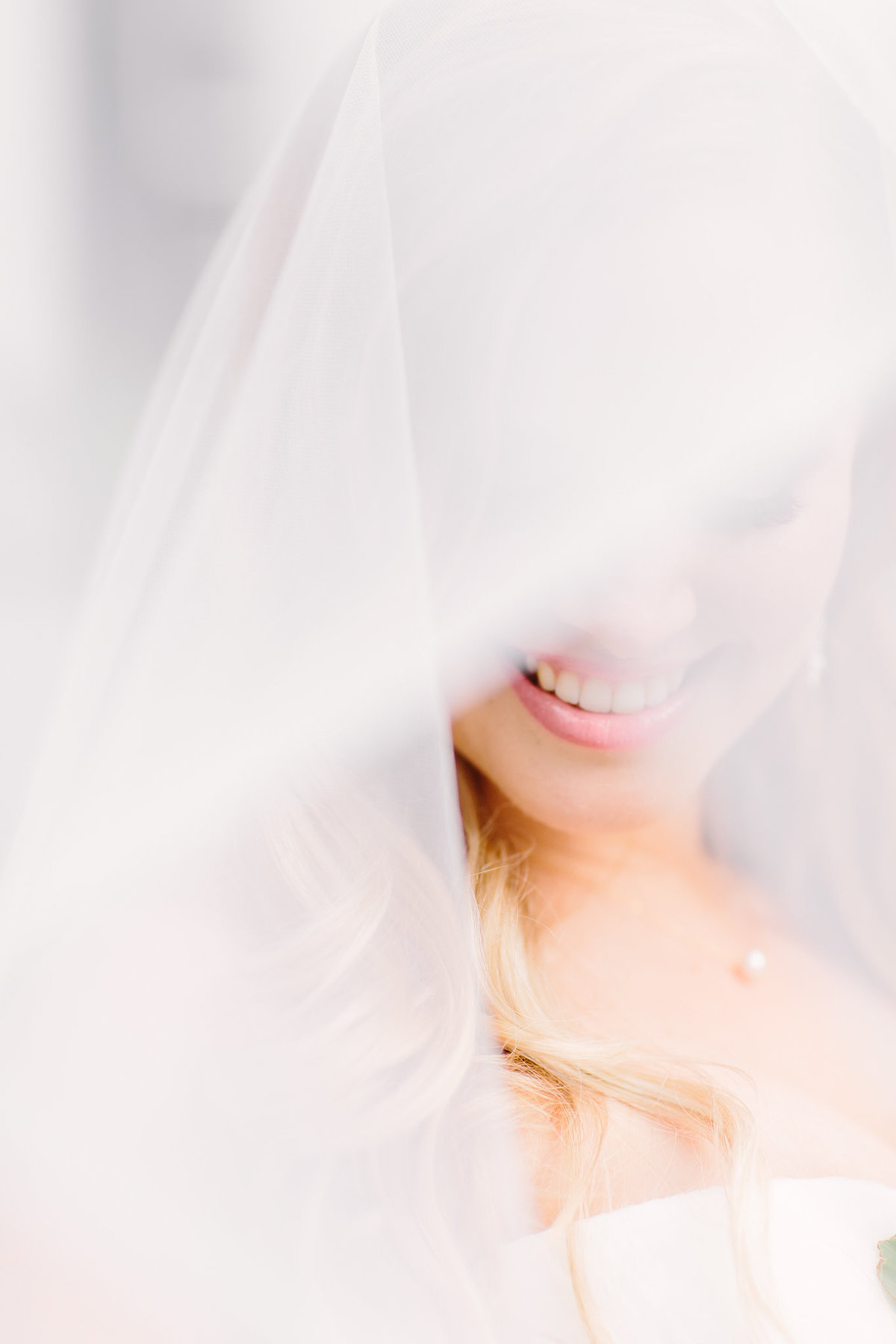 bride close up with her veil