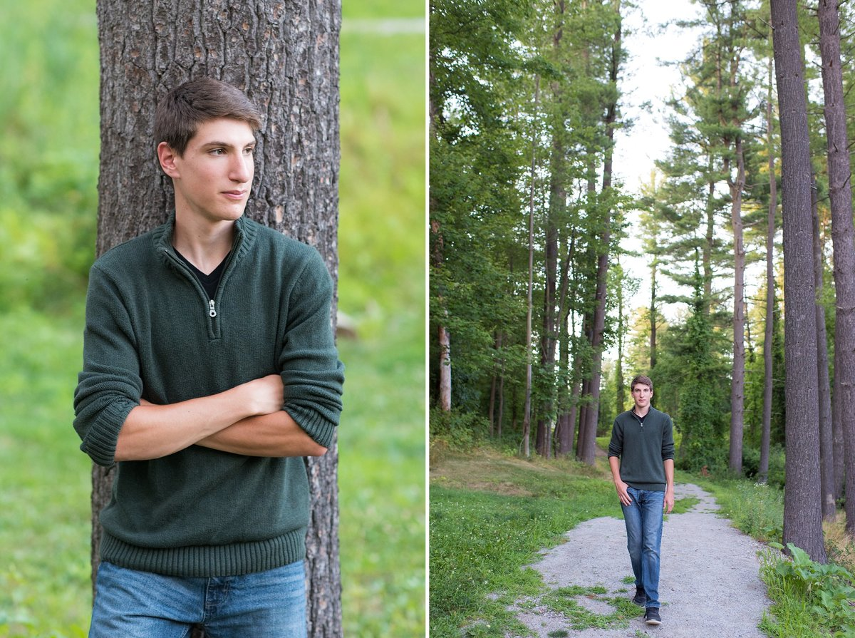 Outdoor senior portrait session with boy in woods in Pittsburgh, PA photo