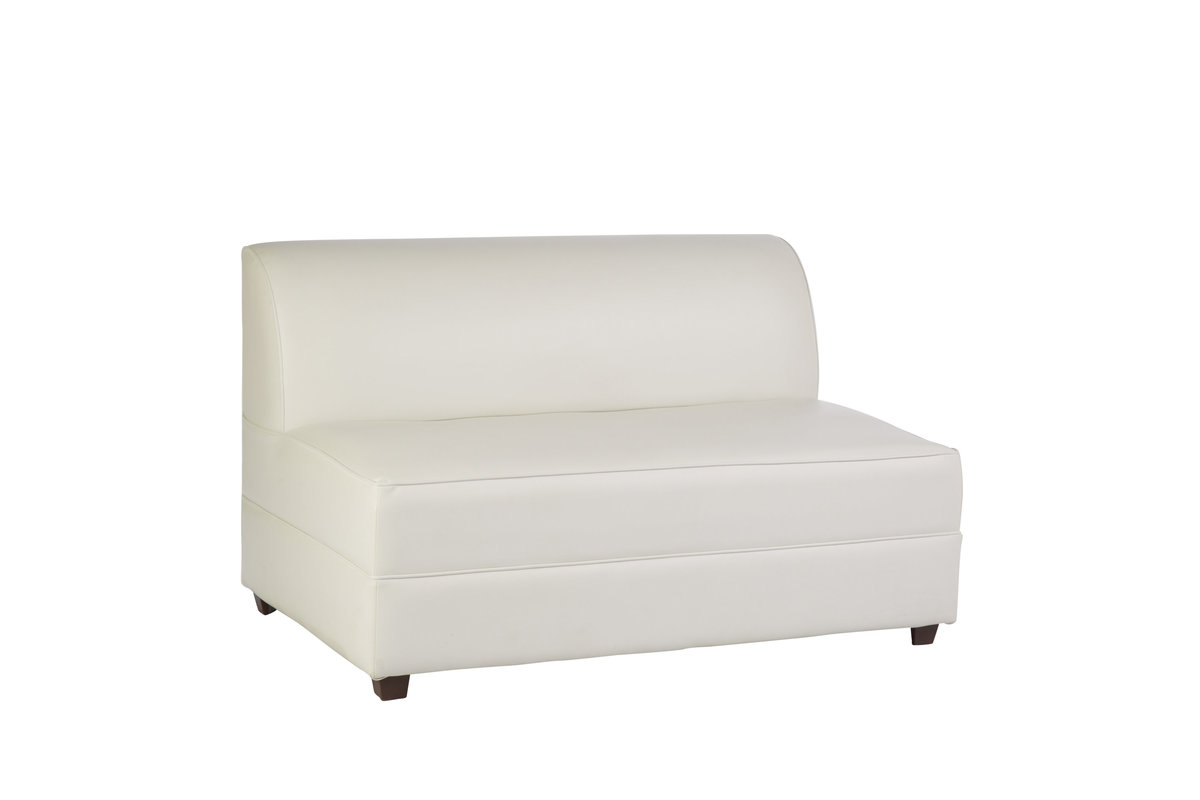 4' White Leather Sofa