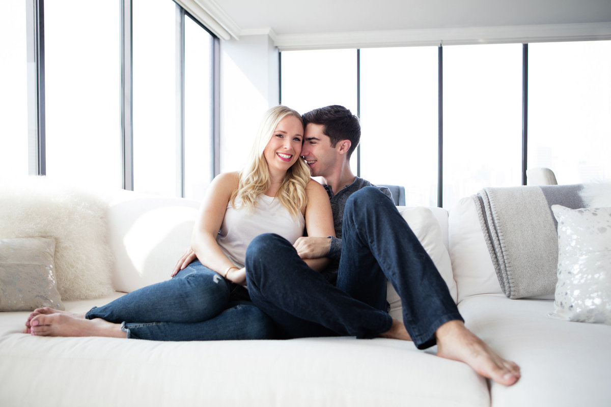 Engagement Photos in San Francisco California in their Apartment, very Urban