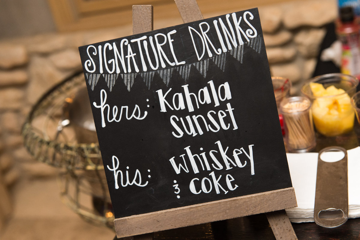 River Rock Event Center Texas  Signature Drink Sign Whiskey