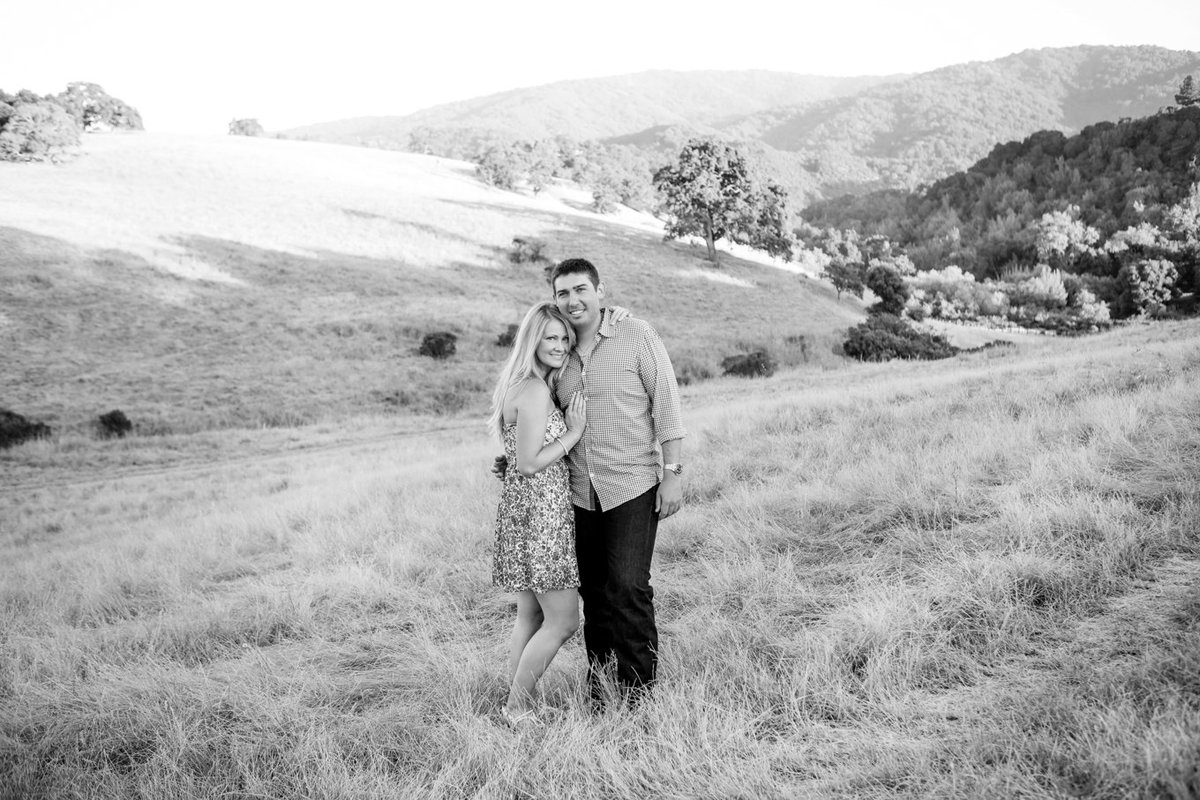 Open space reserve portraits black and white engagement photoshoot young couple