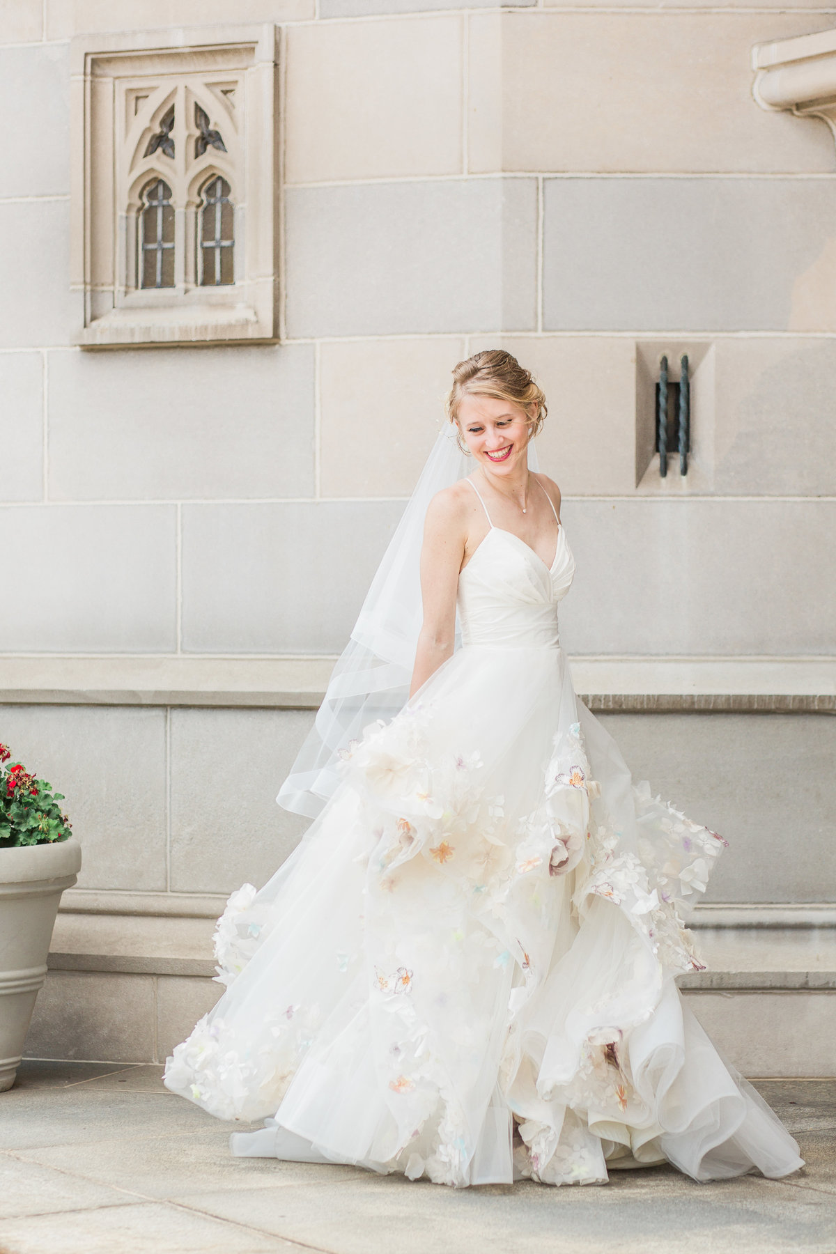 Basilica of the Sacred Heart Floral Wedding Dress Photo