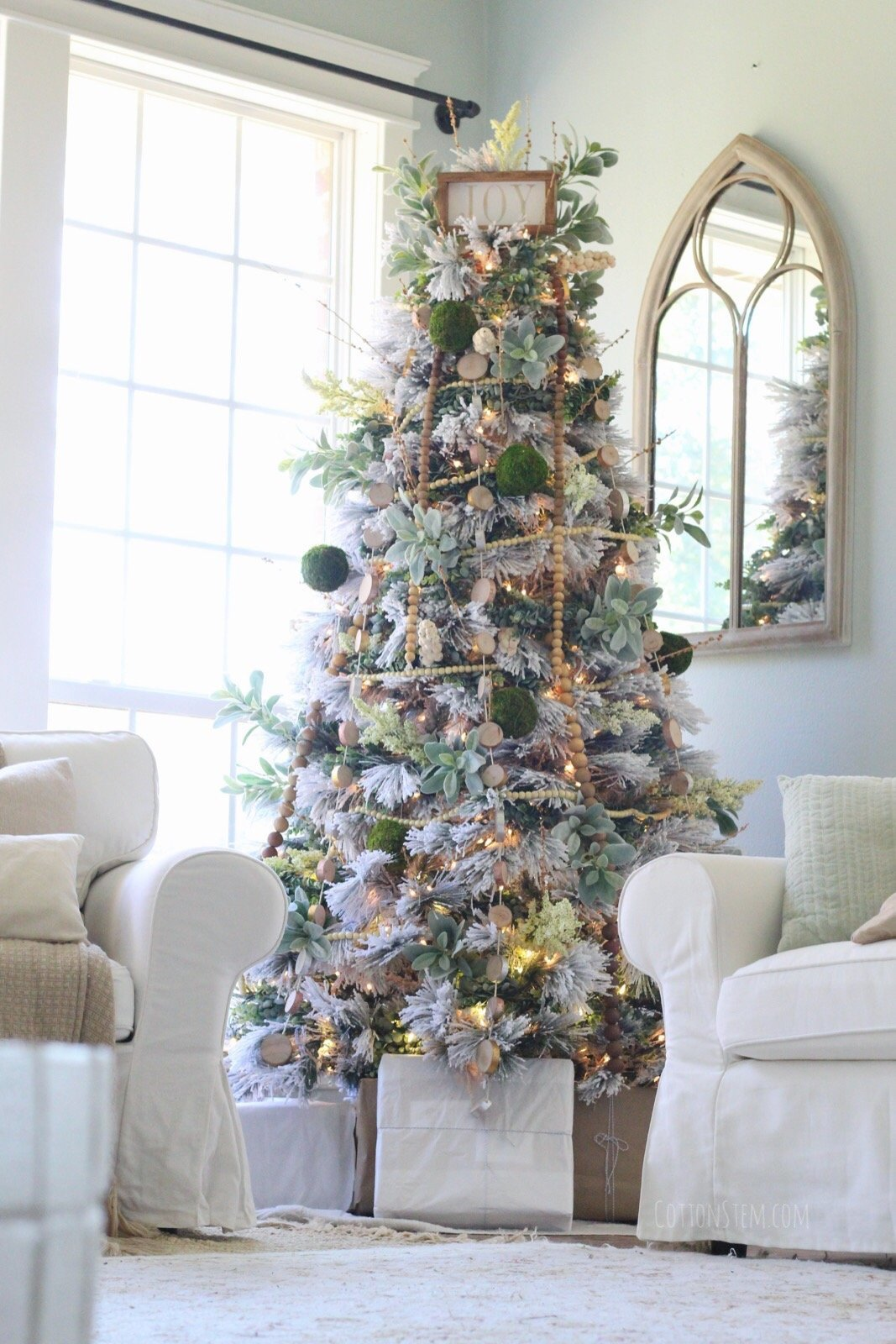 CottonStem.com farmhouse christmas decor flocked tree