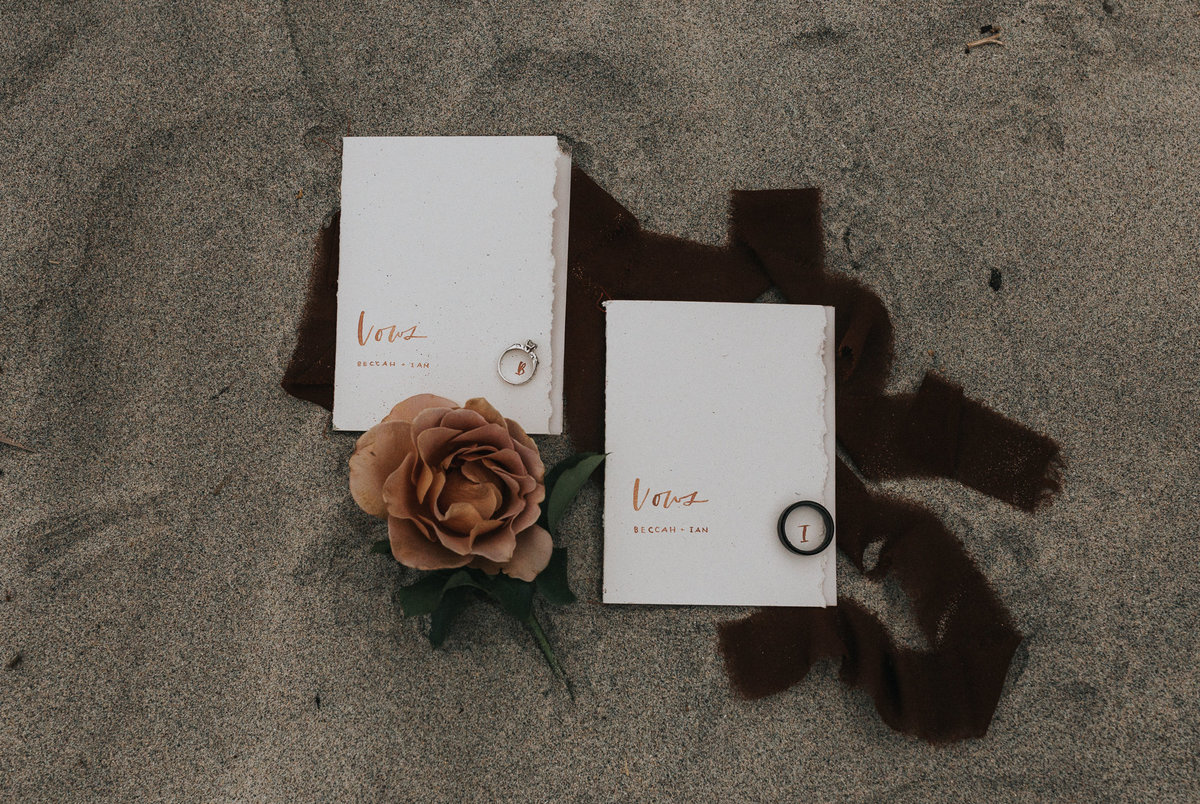 Vow books during an elopement in California.