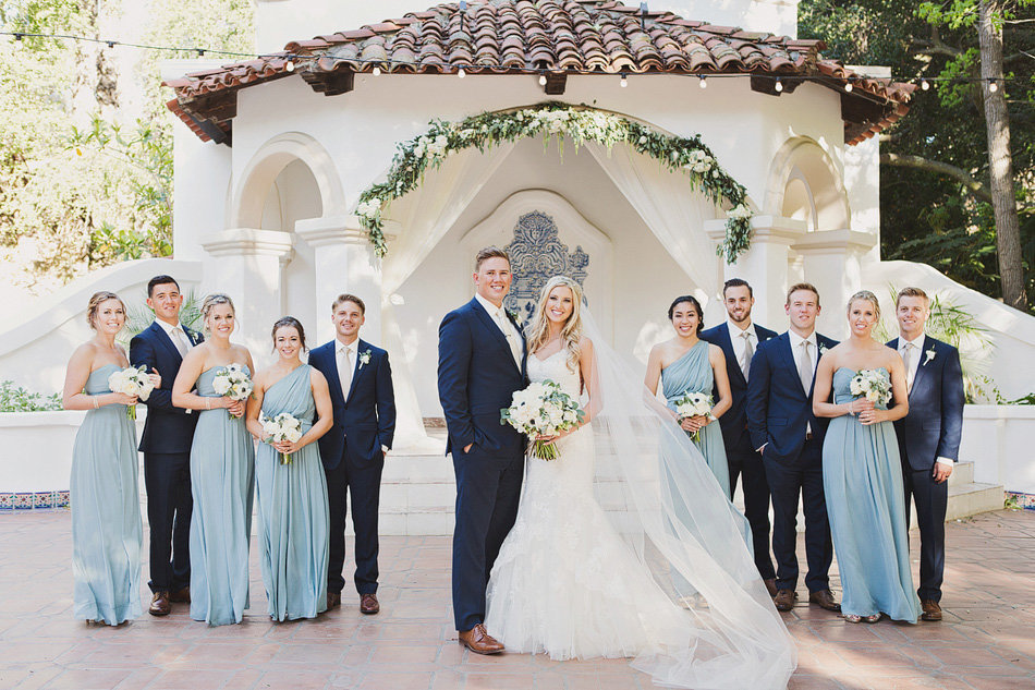 Bridal party portrait at Rancho Las Lomas with blue color palate