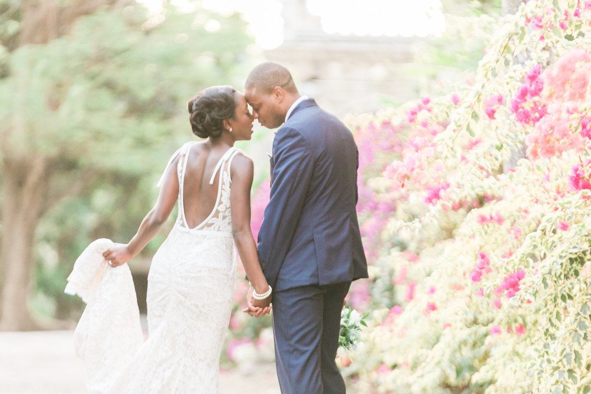 Quiet moment of bride and groom after their destination wedding ceremony - Codrington College, Barbados