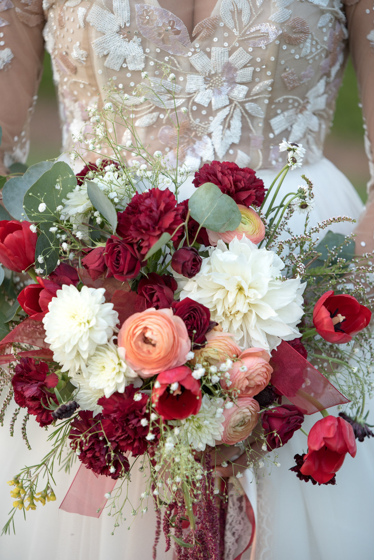 marsala and white bridal bouquet