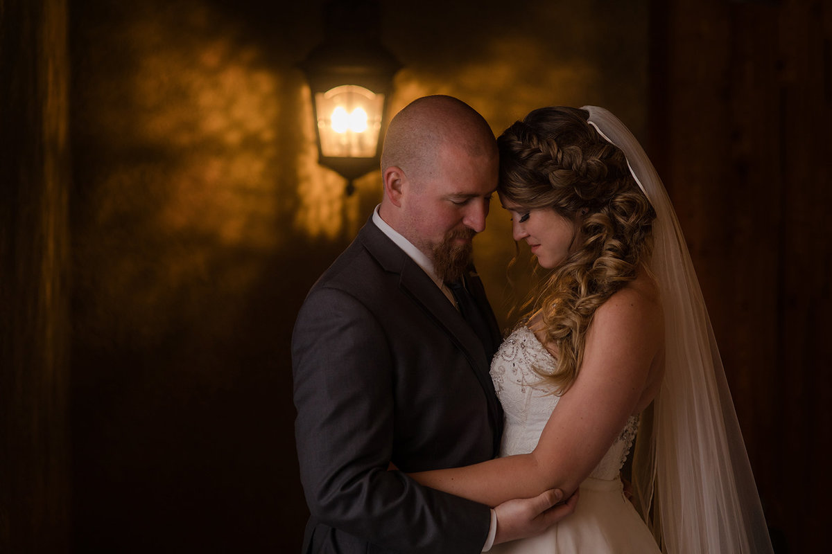 romantic light bride and groom