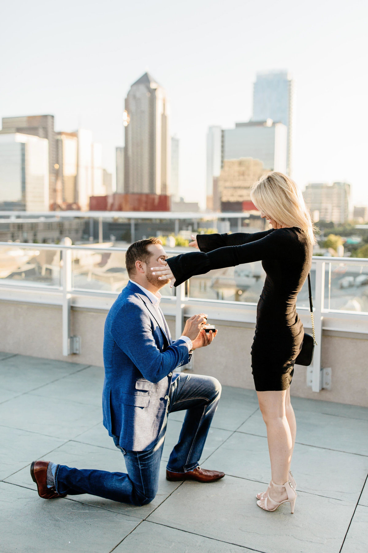 Eric & Megan - Downtown Dallas Rooftop Proposal & Engagement Session-31
