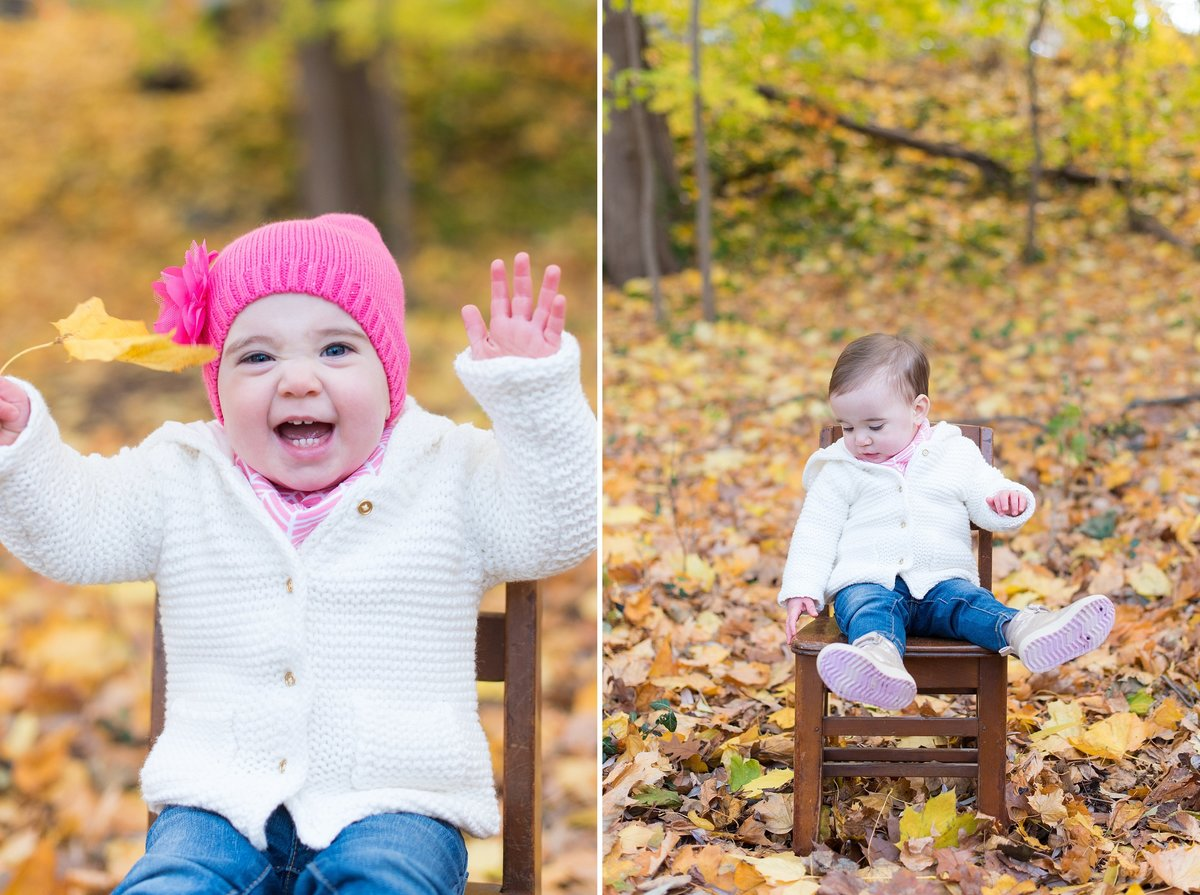Laughing One Year Old Girl in Fall Leaves in Bronxville, NY Photo