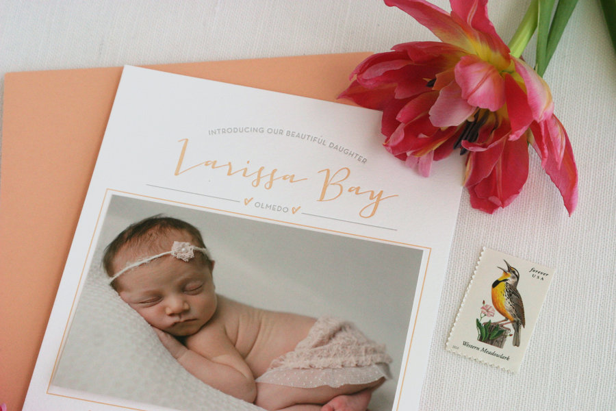 Baby-girl-peach-birth-announcement