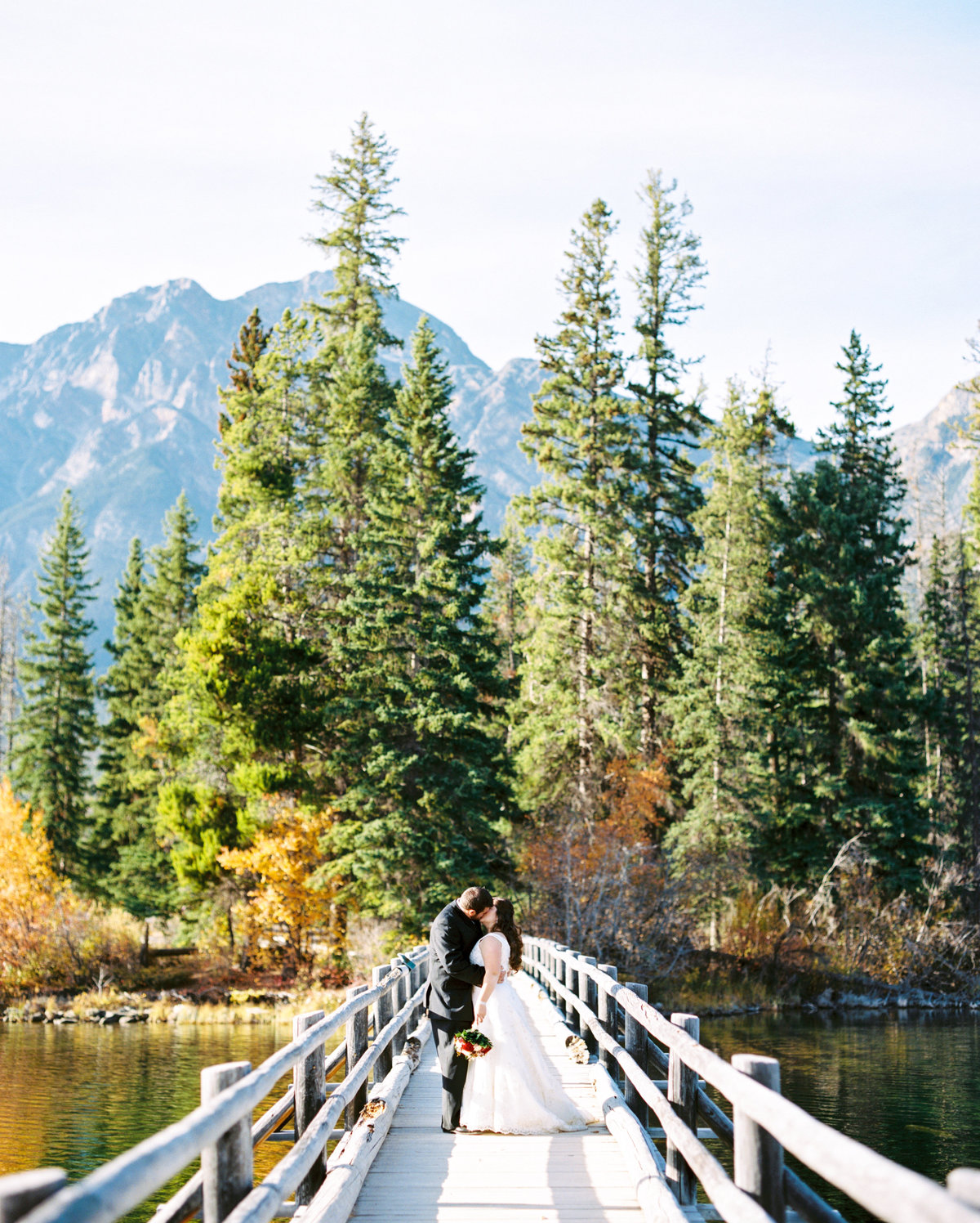 Pyramid Lake Island is a beautiful place for wedding photos located in Jasper Alberta