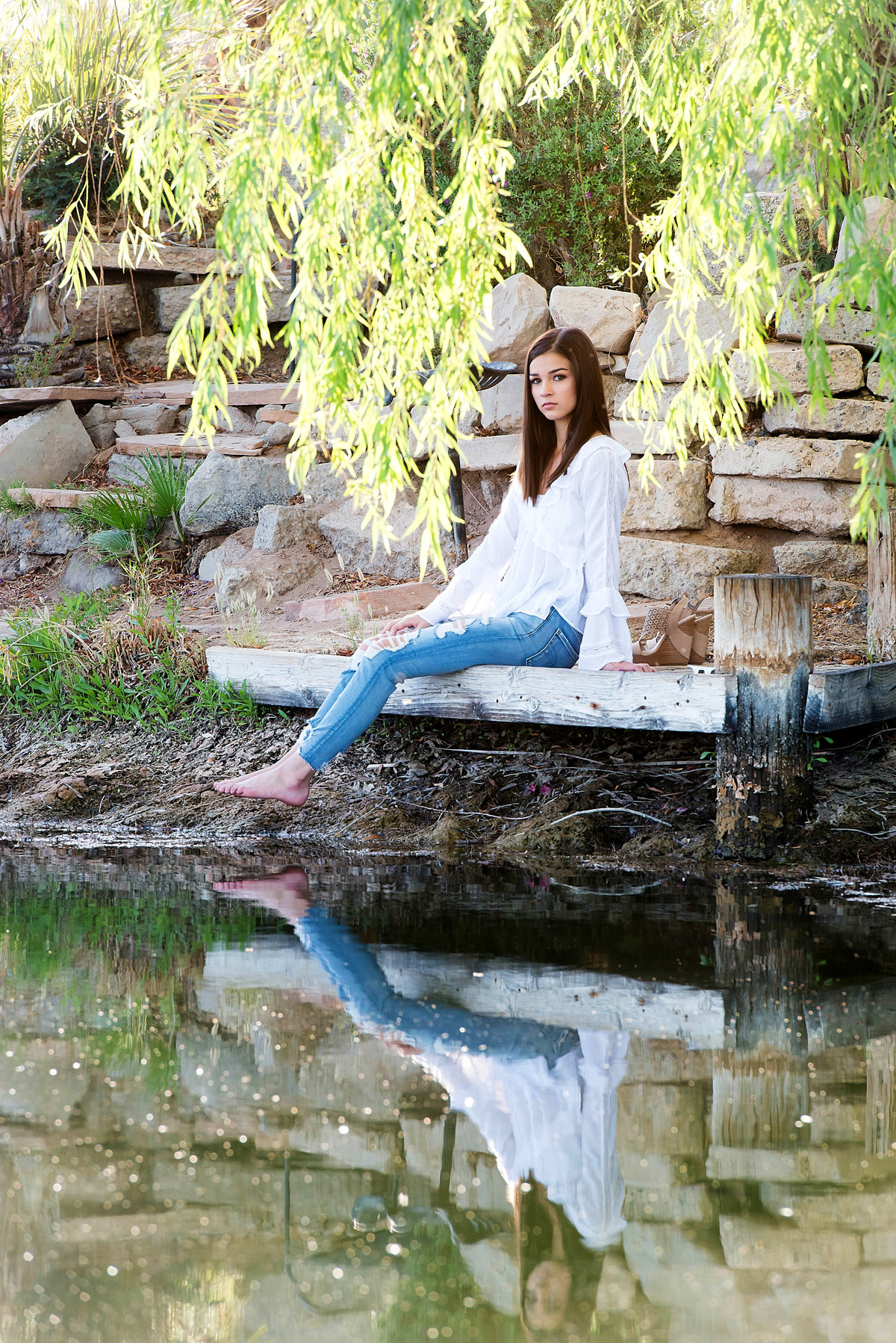senior with pond