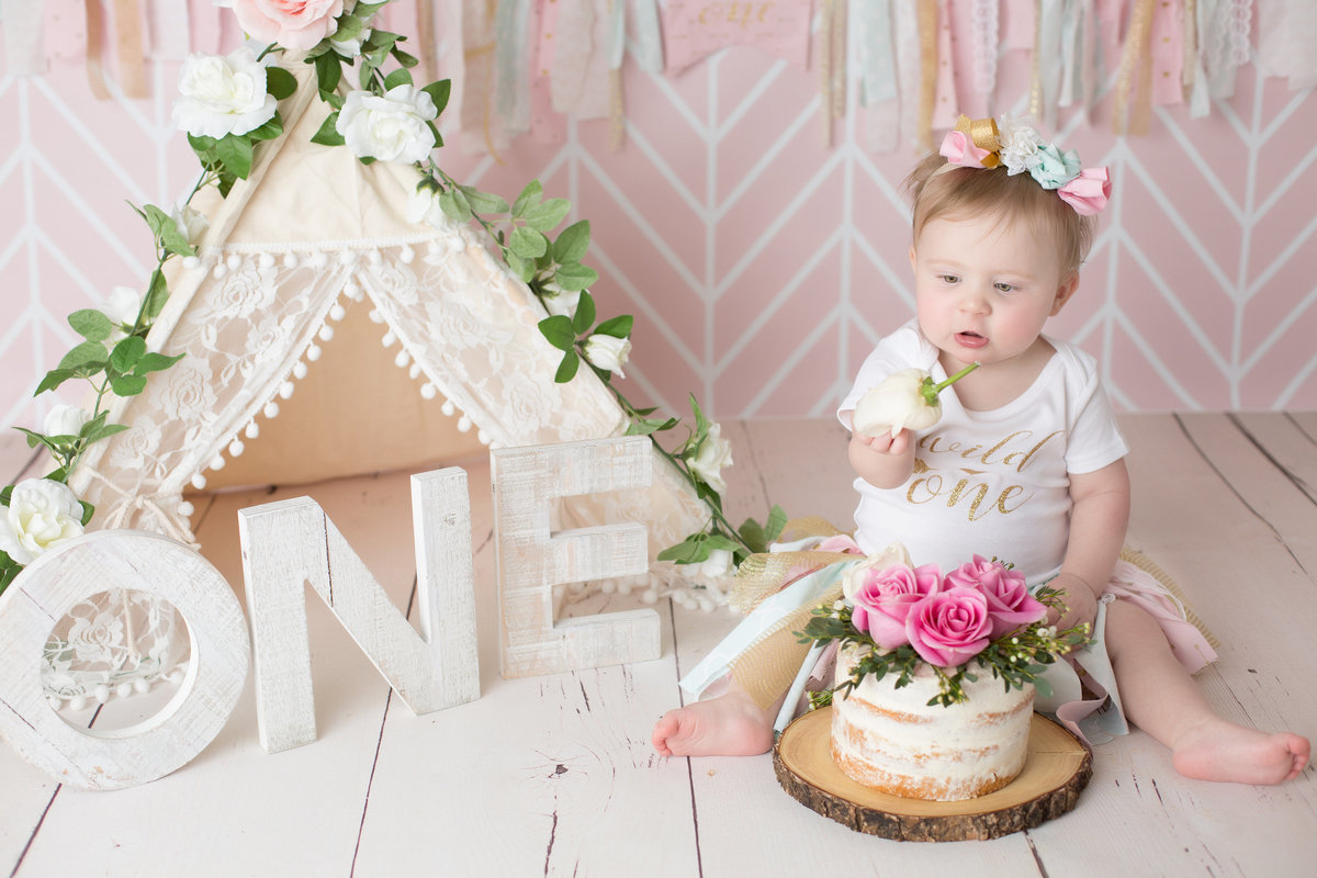 little girl boho cake smash with teepee naked cake smash