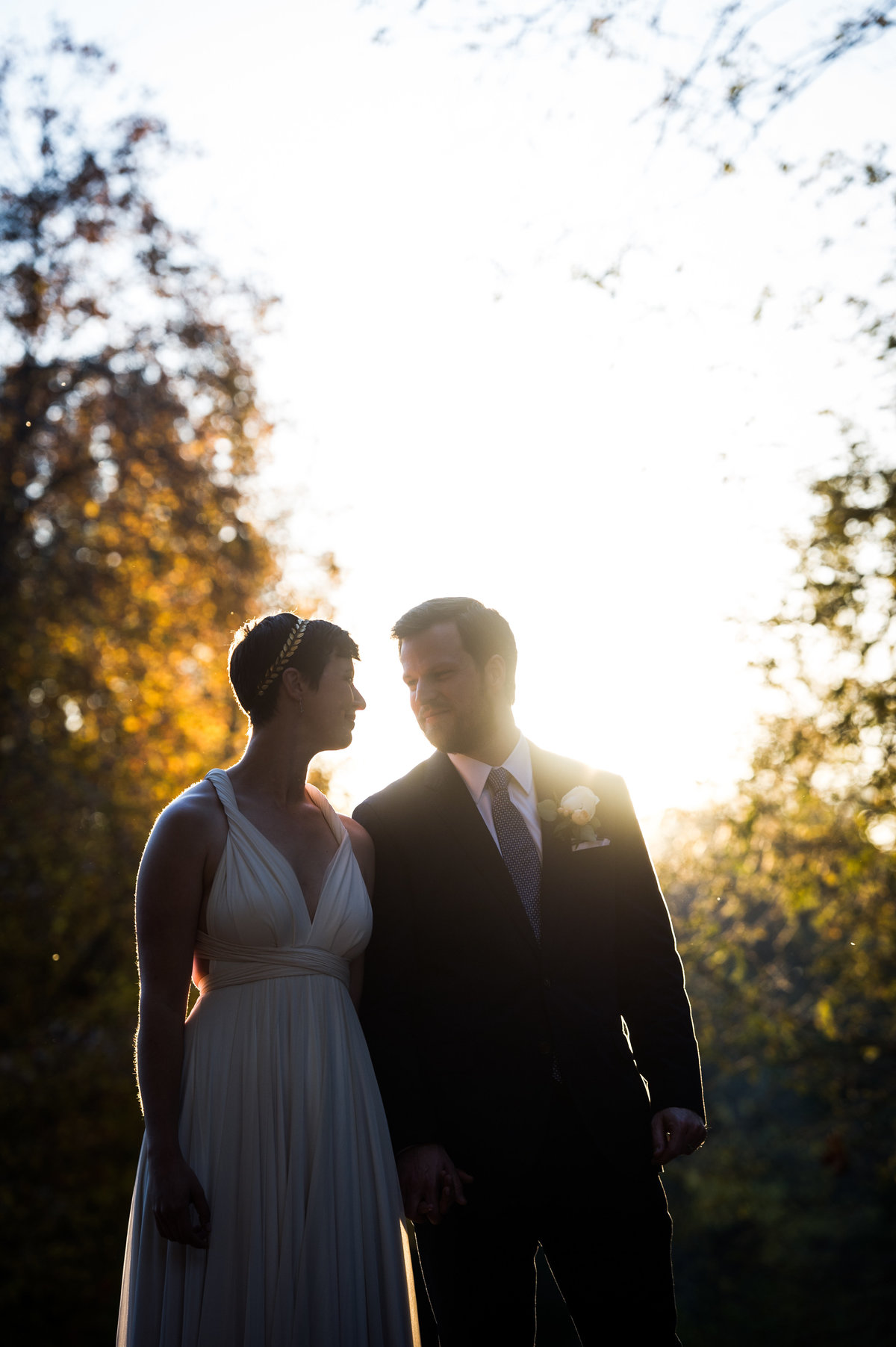 Bride and groom in silhouette, wedding day, Charlottesville, VA.