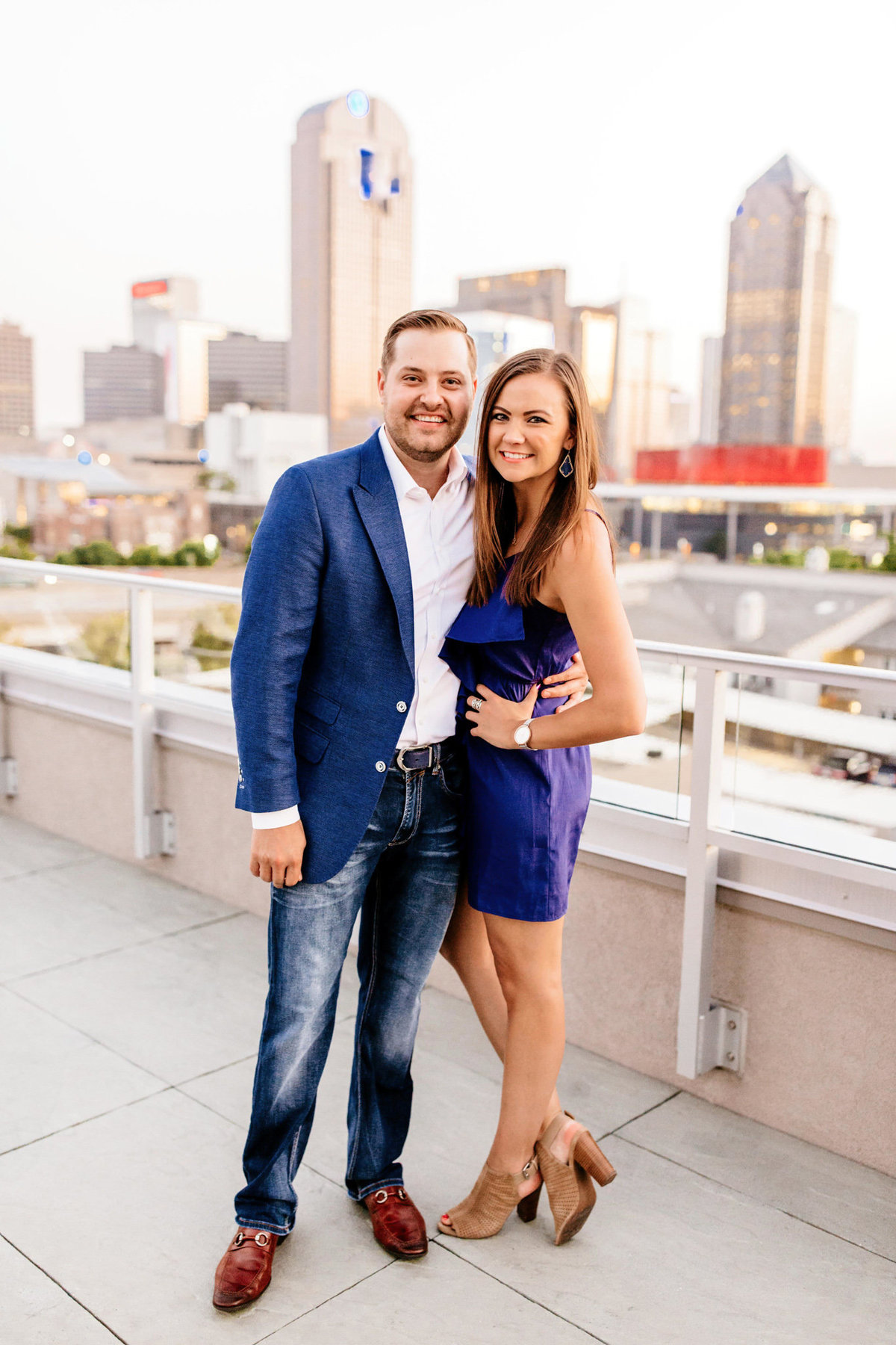 Eric & Megan - Downtown Dallas Rooftop Proposal & Engagement Session-253