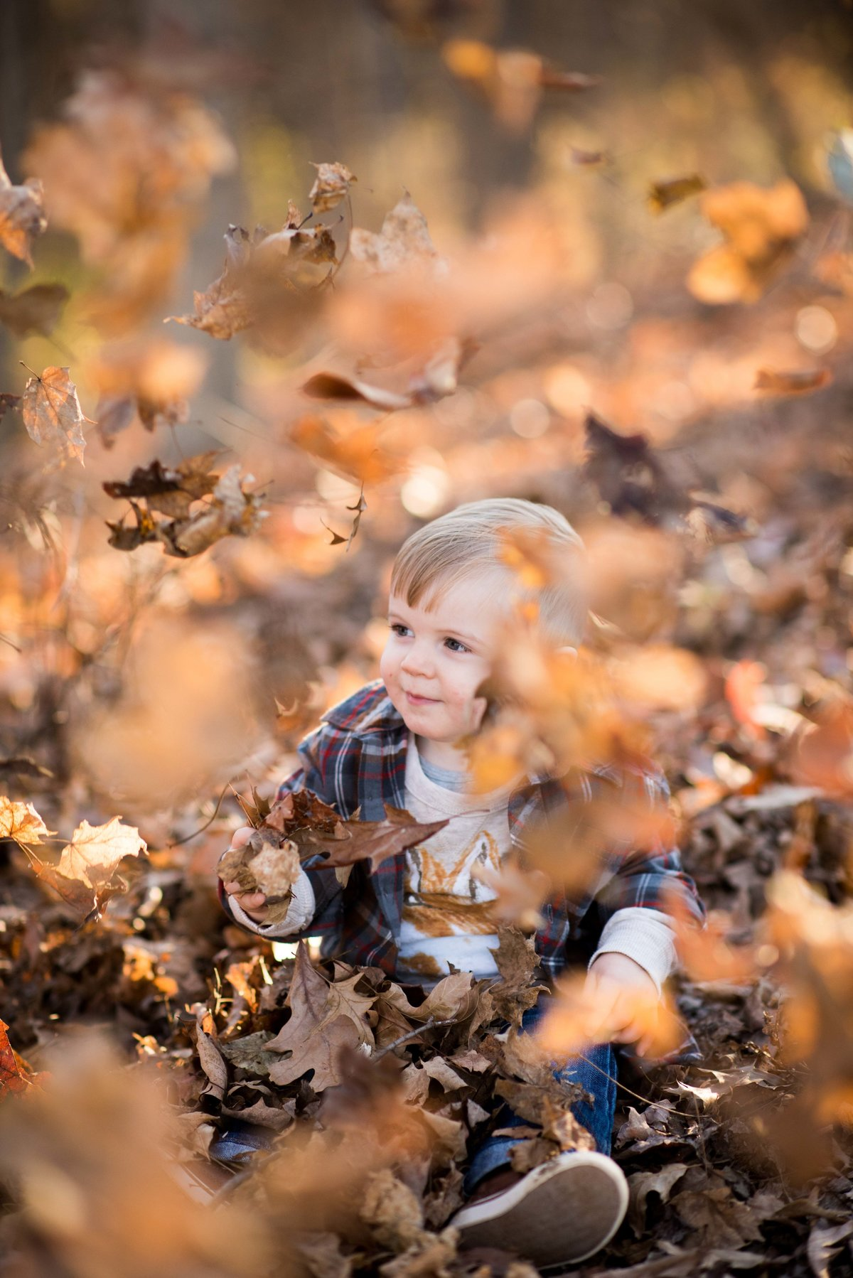Portrait of young boy, autumn, Columbus,  Ohio, leaves falling.