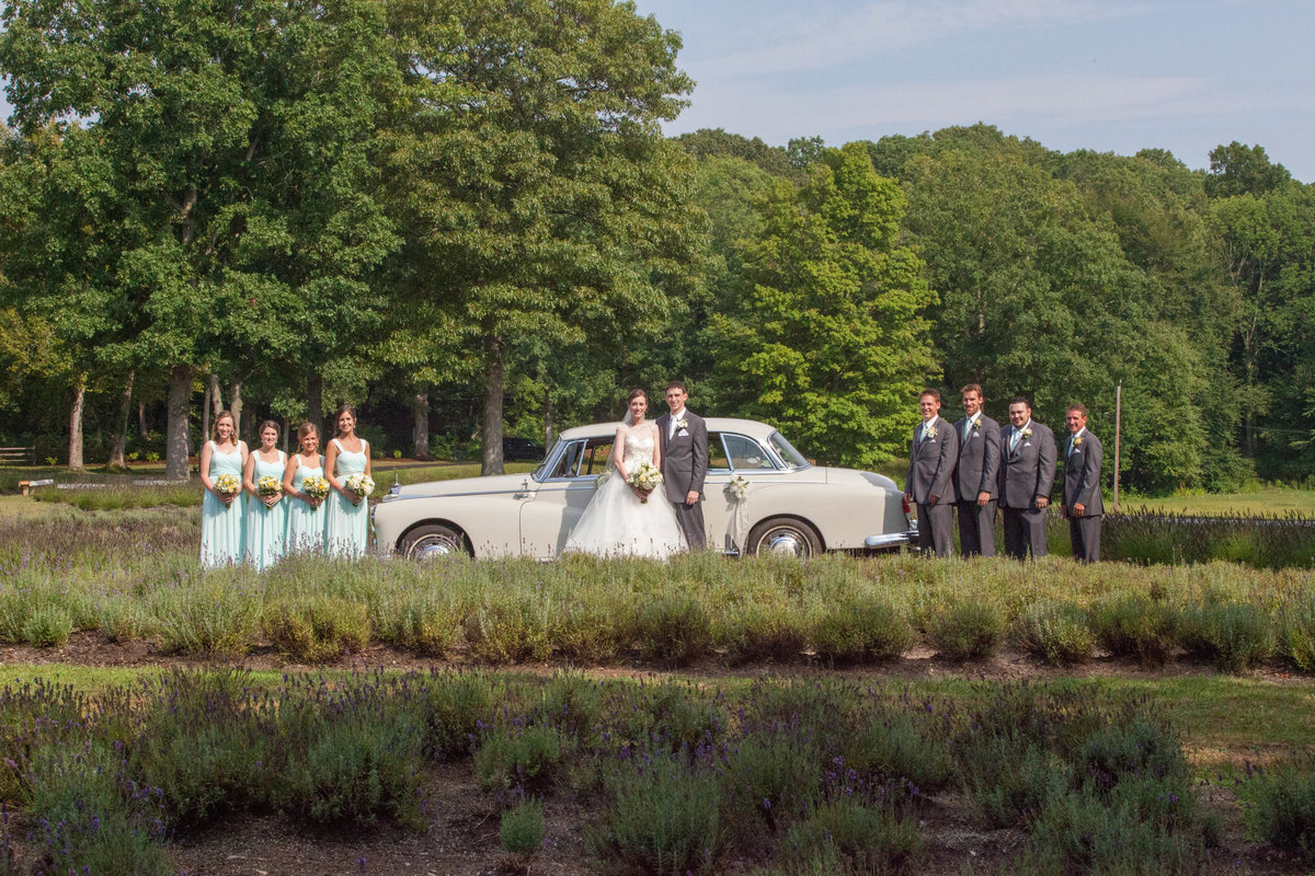 wedding party in front of antique car