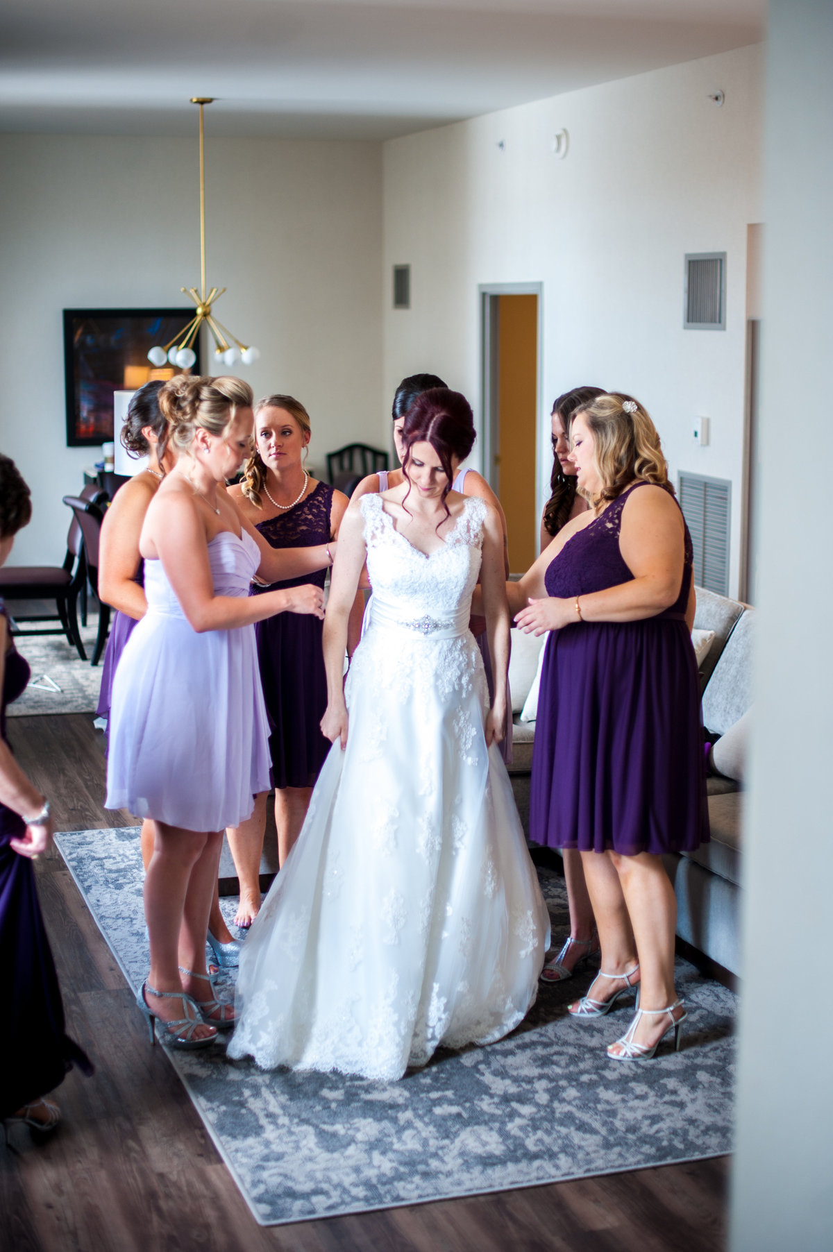 Bride getting ready with bridesmaids at City Museum St Louis MO