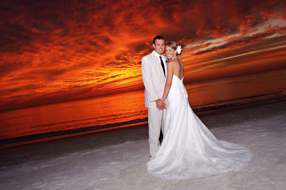 sunset wedding naples beach hotel and golf club florida