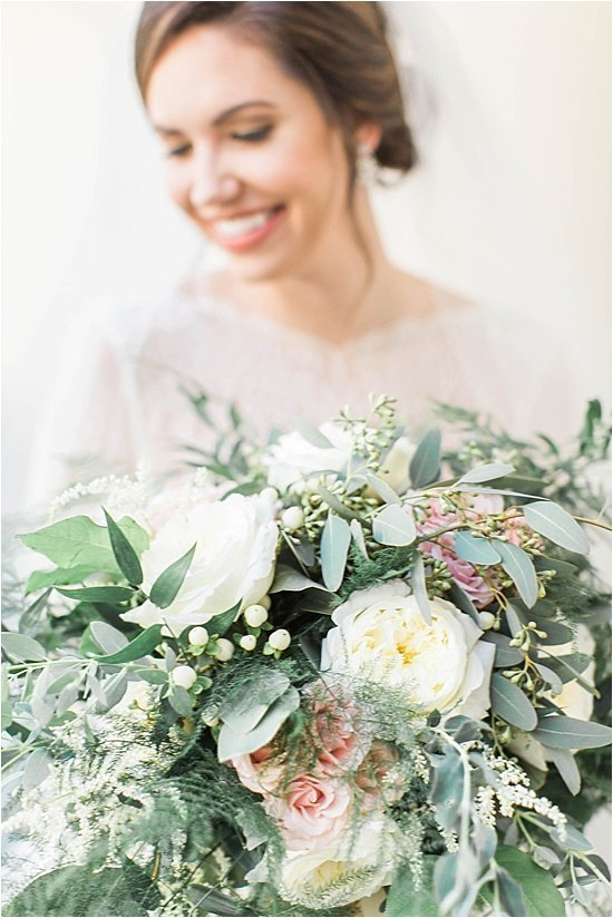 Greenery and Garden Roses Wedding Bouquet