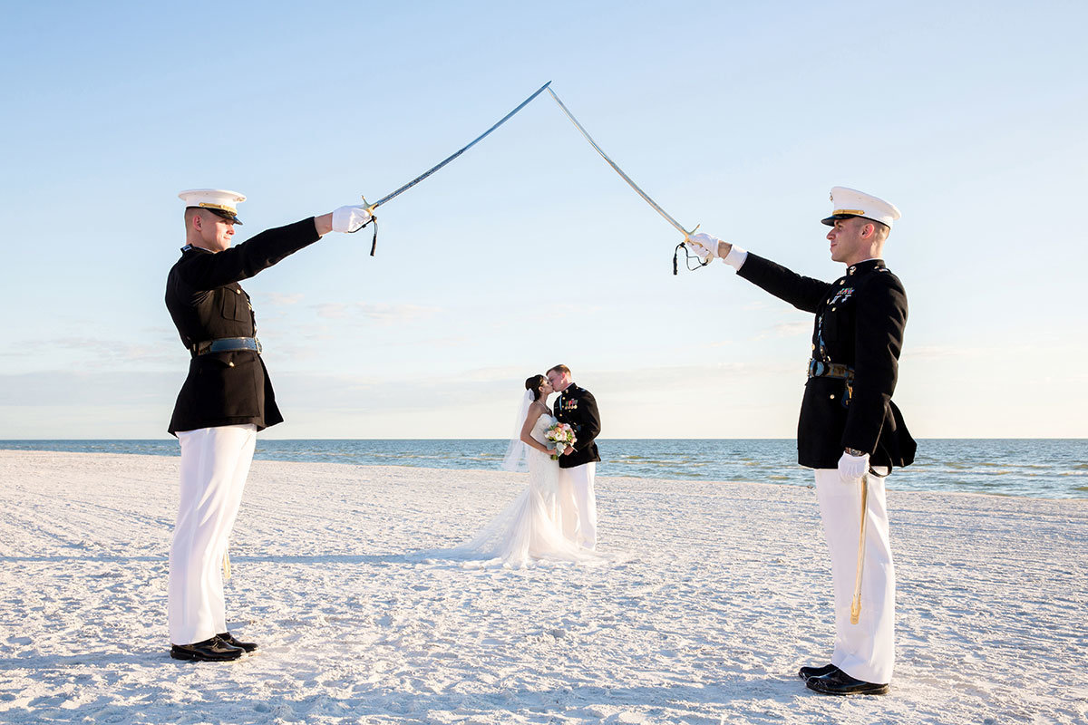 pink shell fort myers beach military beach wedding photo