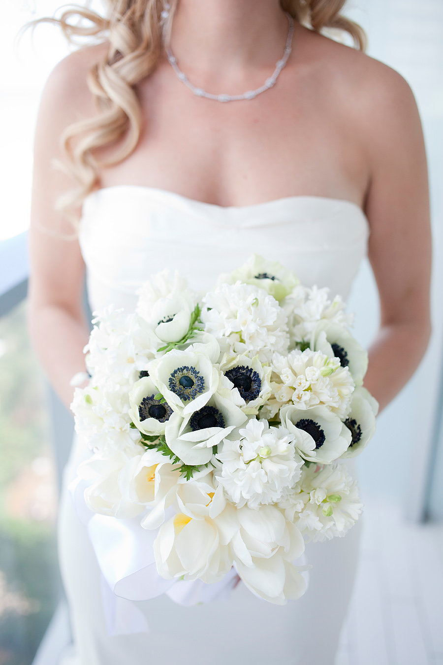 bride bouquet with blue flowers