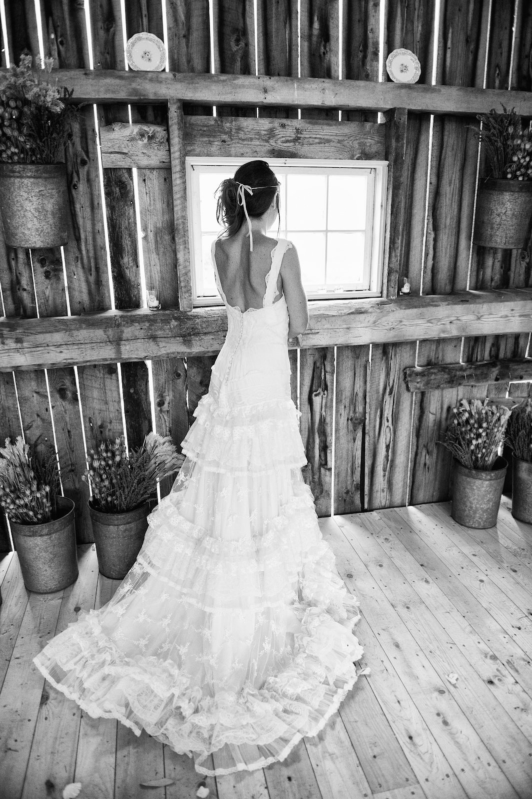 black and white bridal portrait at the Little Farm