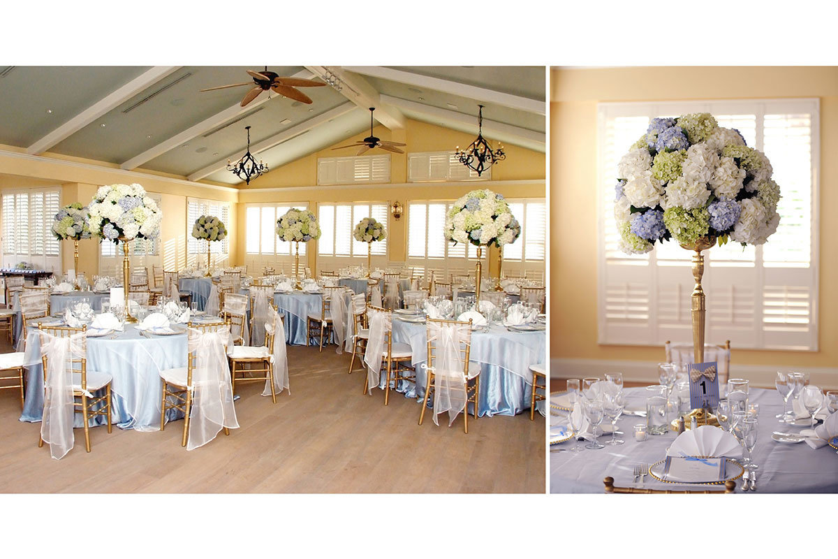 ritz carlton naples florida beach house reception white and blue centerpieces