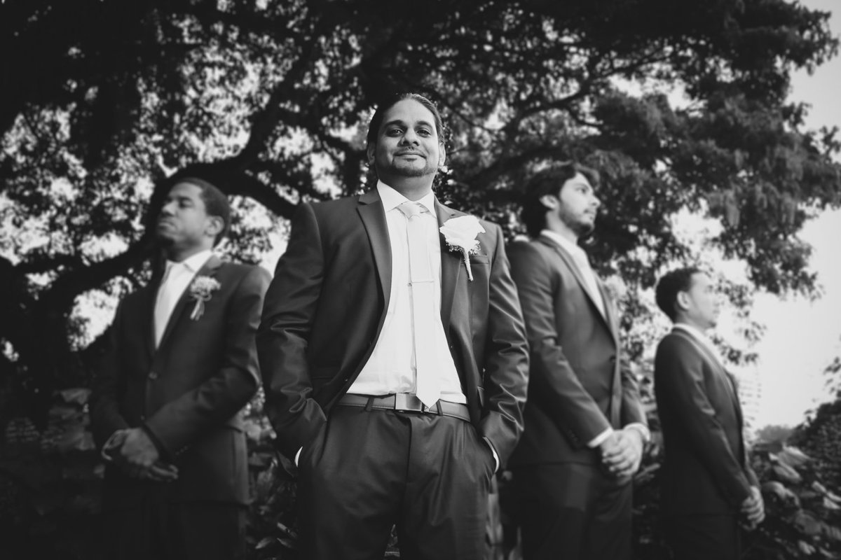 B+W groom and groomsmen. Photo by Ross Photography, Trinidad, W.I..