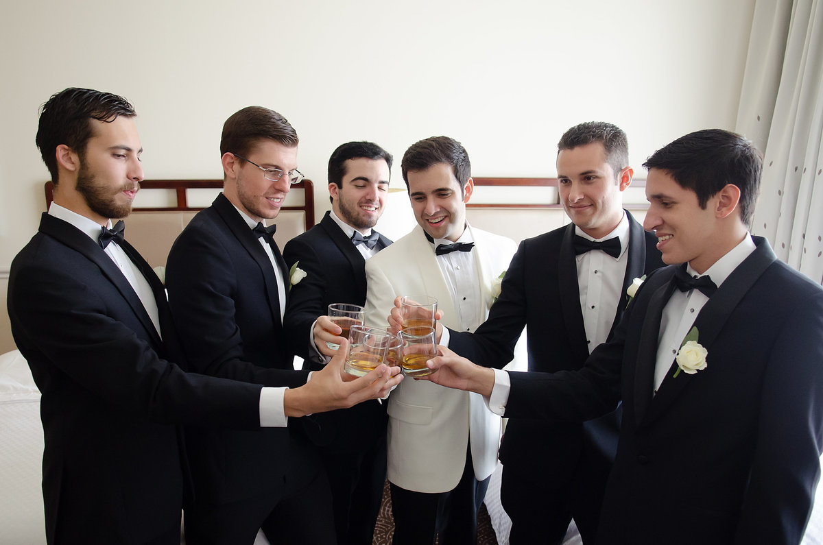 Groomsmen and Groom cheering