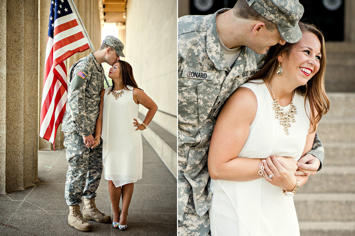 Engagement session of military couple laughing together and holding american flag at the parthenon in Nashville, TN by Knoxville Wedding Photographer, Amanda May Photos.