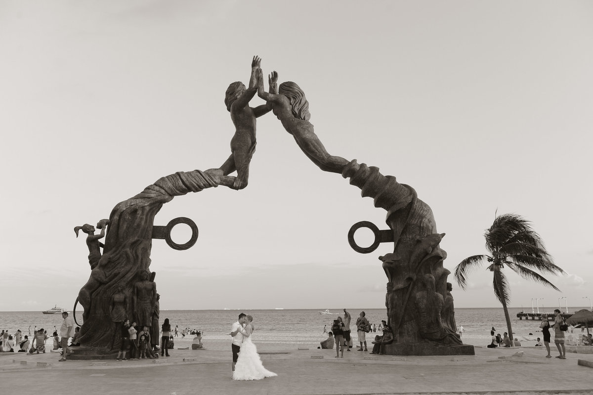 Playa Del Carmen Mexico destination wedding downtown wedding photos