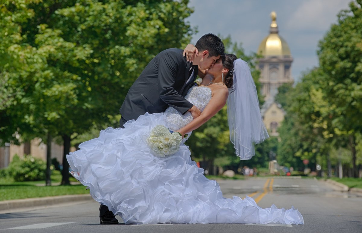 Dip on Notre Dame Avenue in front of the Golden Dome