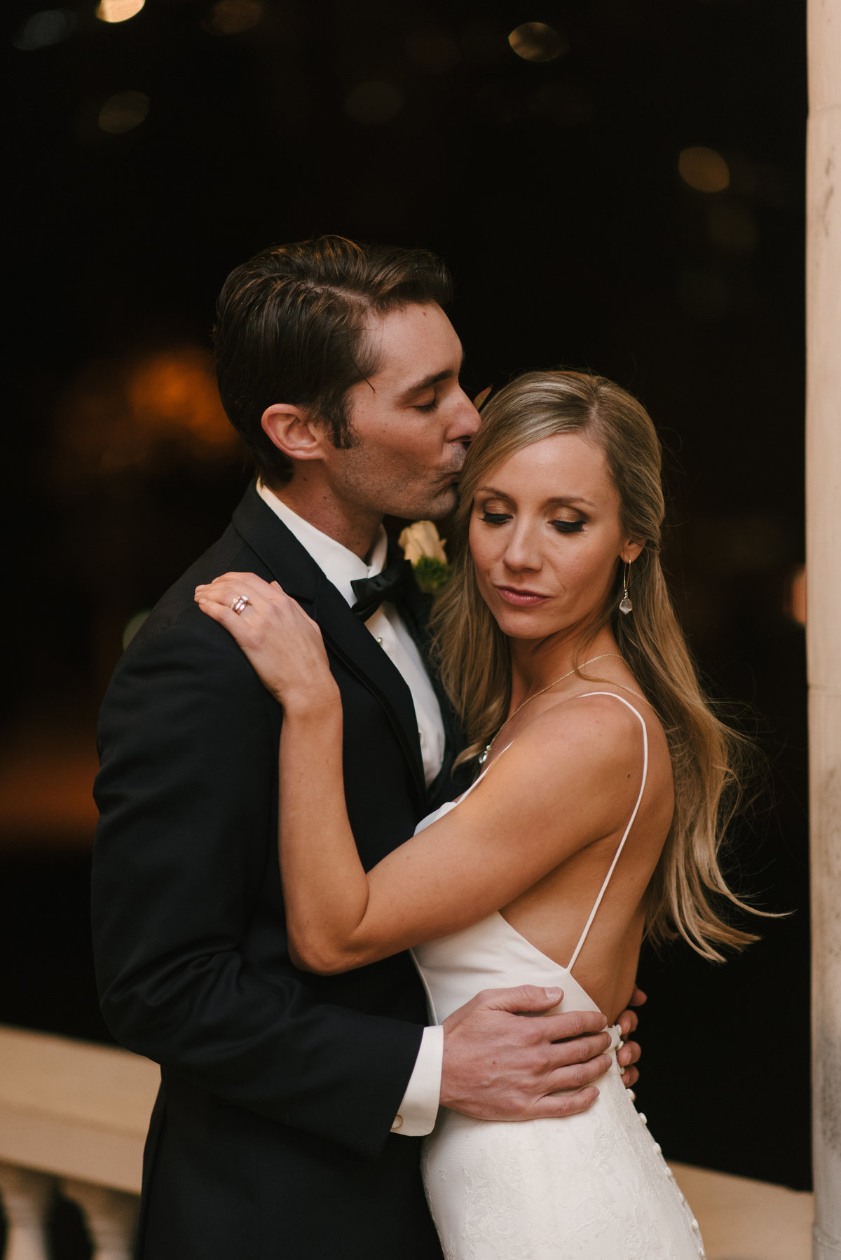 black tie wedding night portrait