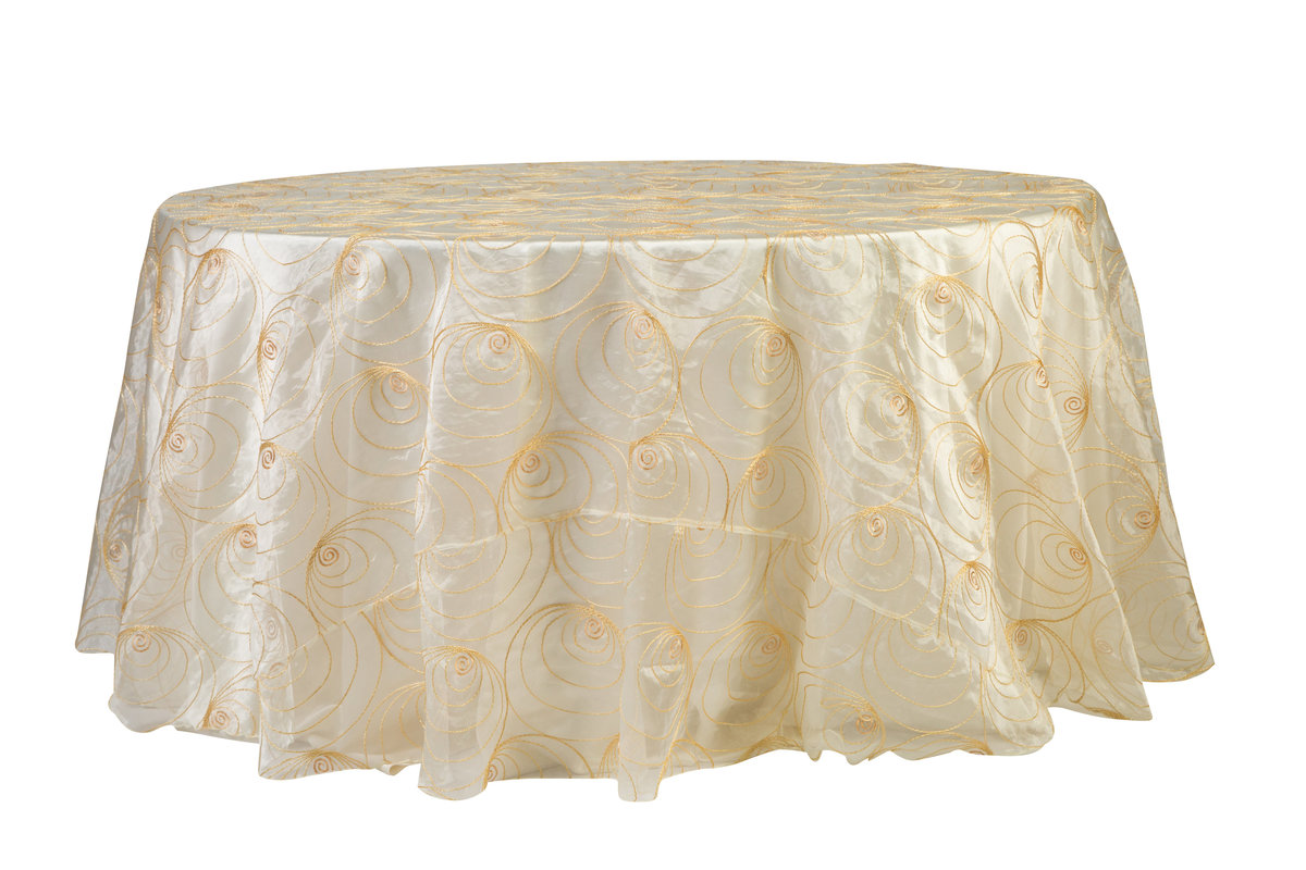 120'' Rd Gold Rings Tablecloth