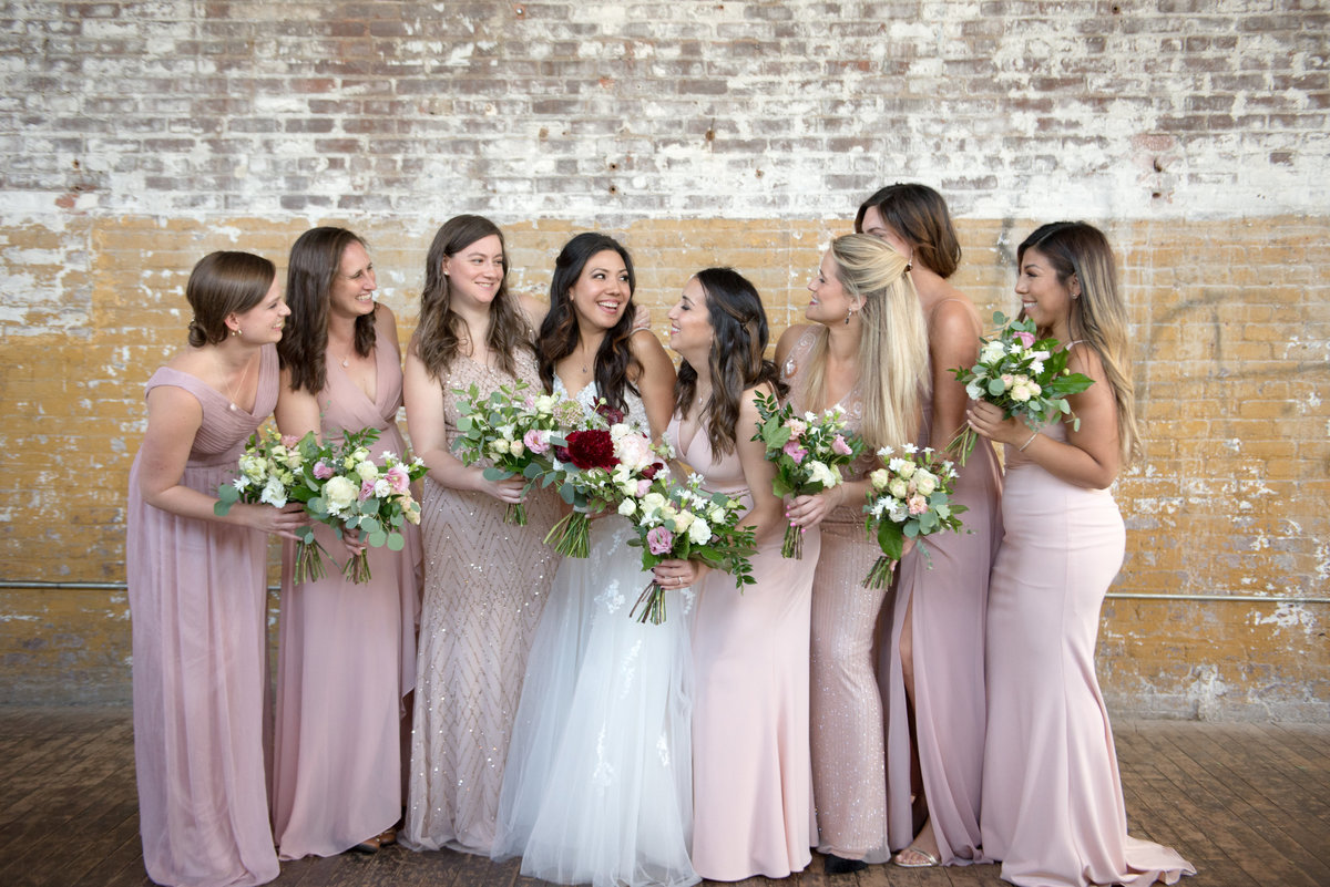 Blush Bridesmaids and Rosehip Floral Bouquets