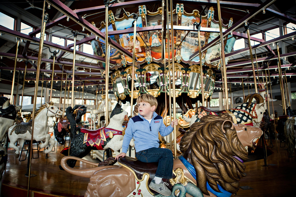 Little boy riding on a carousel for his family pictures by Knoxville Wedding Photographer, Amanda May Photos.