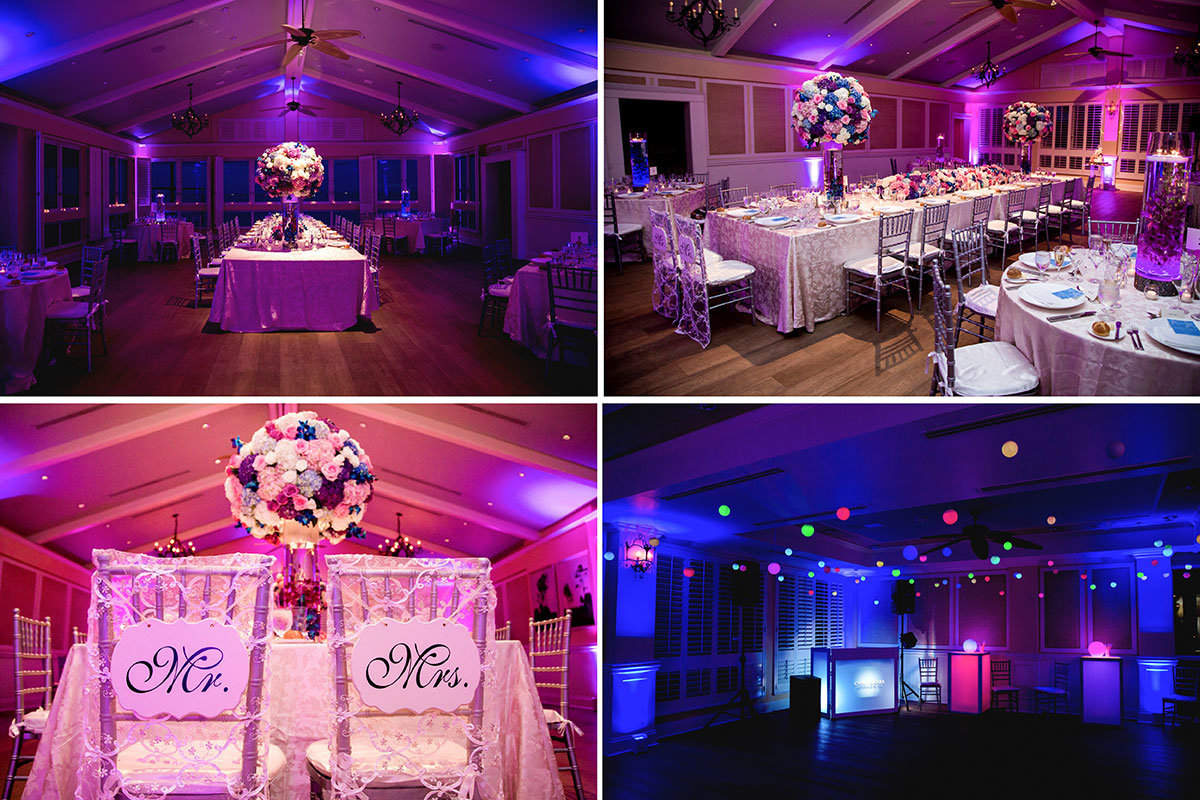 ritz carlton naples florida beach house reception purple uplighting and flowers