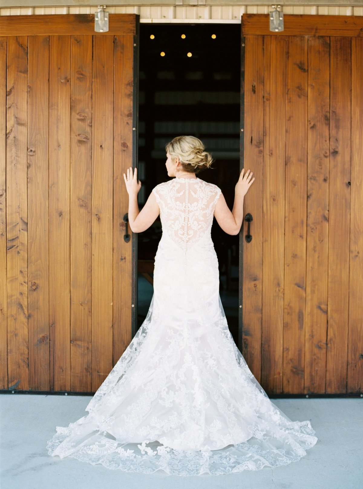 A beautiful bride at a farm house in Texas. This session was captured on film.
