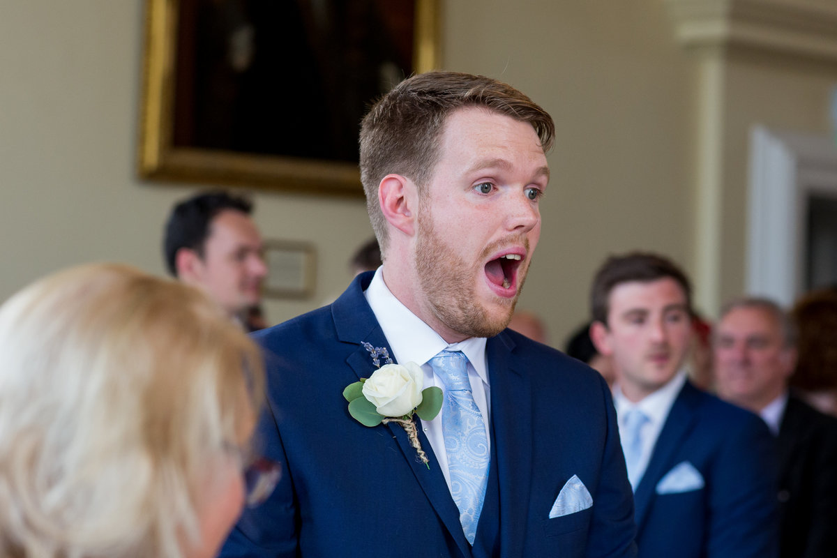 groom reaction somerset wedding photographer