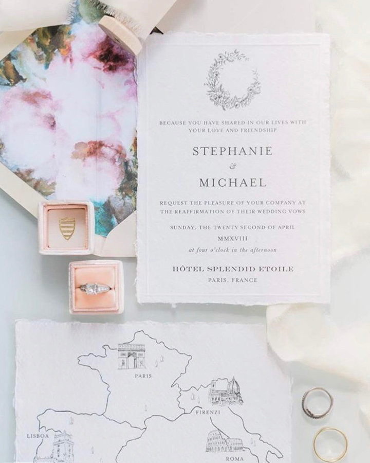 Elegant timeless and simple wedding invitations for a destination wedding in Paris by Plume & Fete