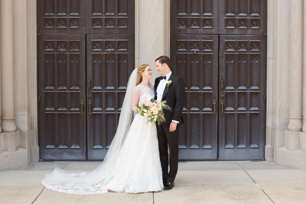 Scottish Rite Cathedral Wedding Bride and Groom Photo