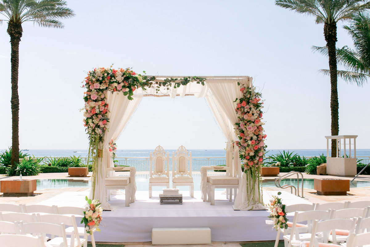 Outdoor wedding Mandap on the water