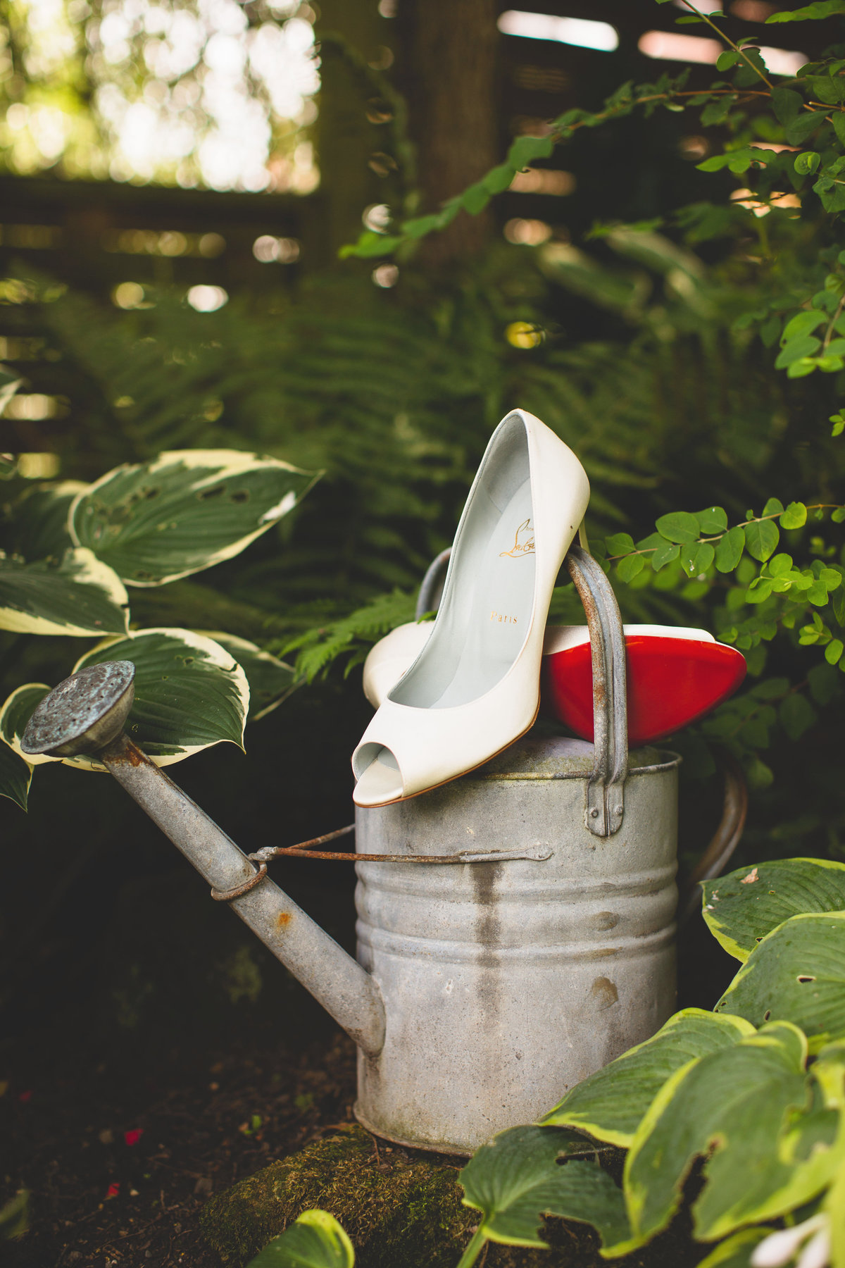 christian louboutin wedding shoes with watering can