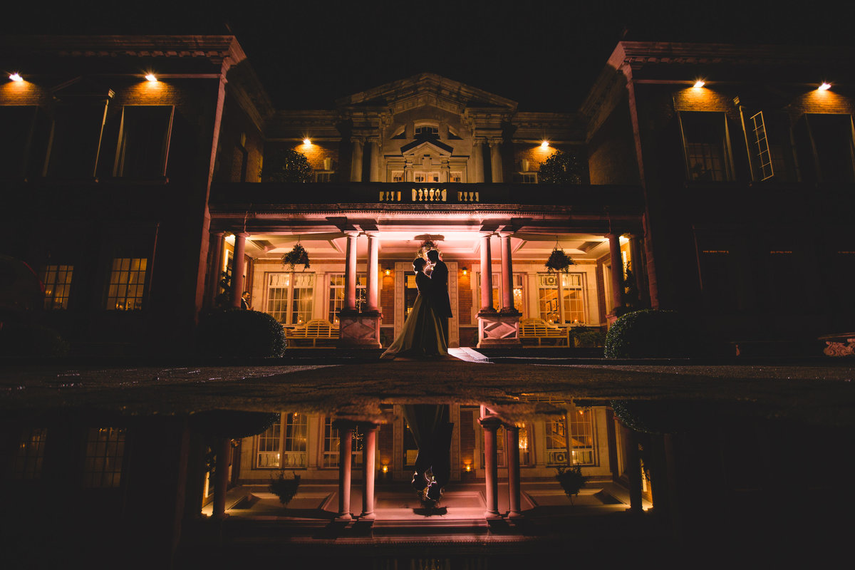 creative wedding photo reflection night dramatic creative
