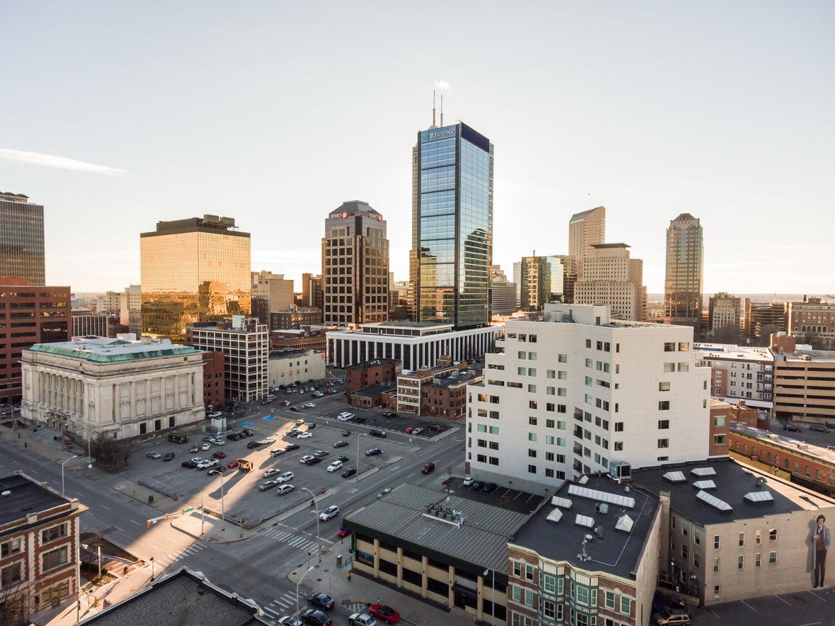 Aerial Photo of downtown indianapolis