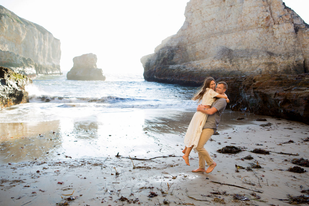 Deneffe studios engagement and wedding portraits in davenport, california; photos on beach